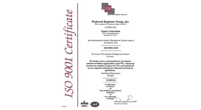 Teguar ISO 9001:2015 Certificate