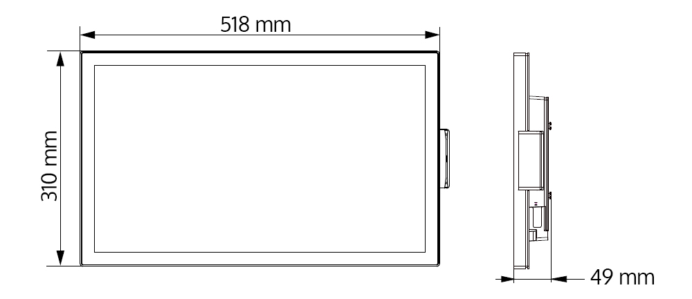 Technical drawing of Teguar panel pc