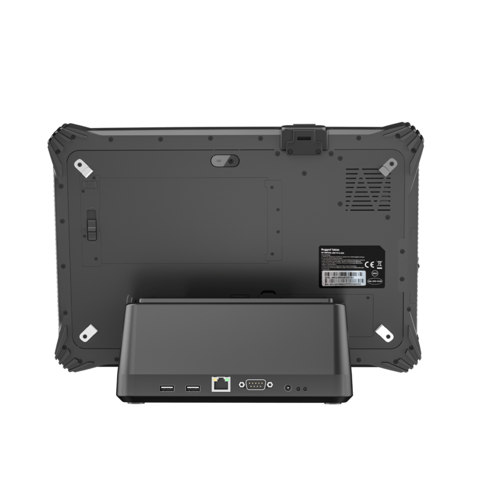 Back view of dock with a tablet currently docked