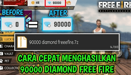 dapatkan 90000 Diamond Free Fire 7z