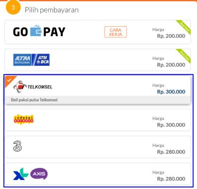 memilih metode pembayaran yaitu melalui voucher pulsa telkomsel