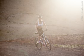 South African born Pro Surfer and Sports Model Tehillah McGuinness shoots outdoor fitness with photographer Mauro Ladu in Fuerteventura