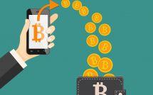 Münzen sind in der Bitcoin-Brieftasche verletzt