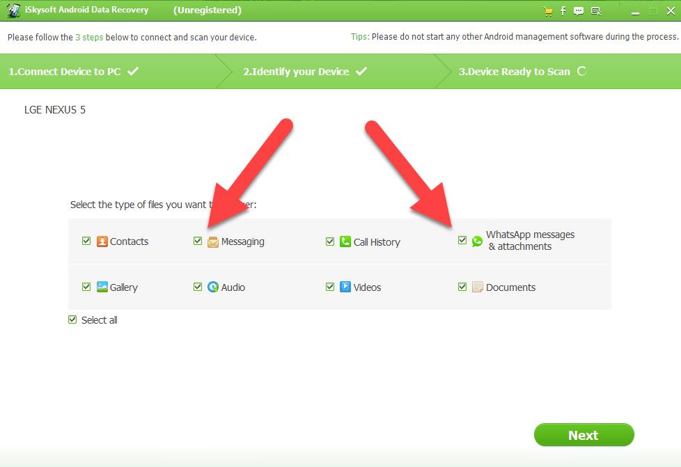 Android деректерін қалпына келтіру Қалпына келтірілген файлдардың түрлерін таңдаңыз