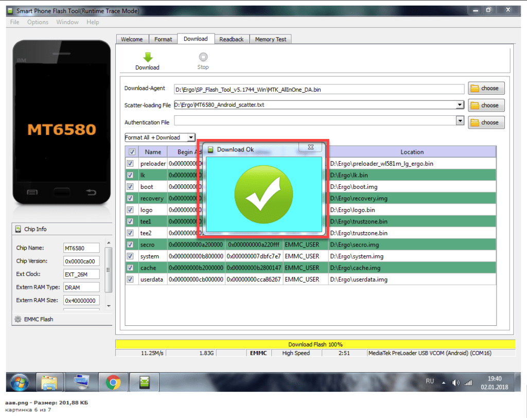 SP Flash Tool Firmware selesai