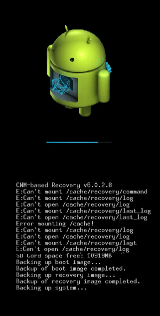 CWM SDCARD 완료 Android에서 설치합니다