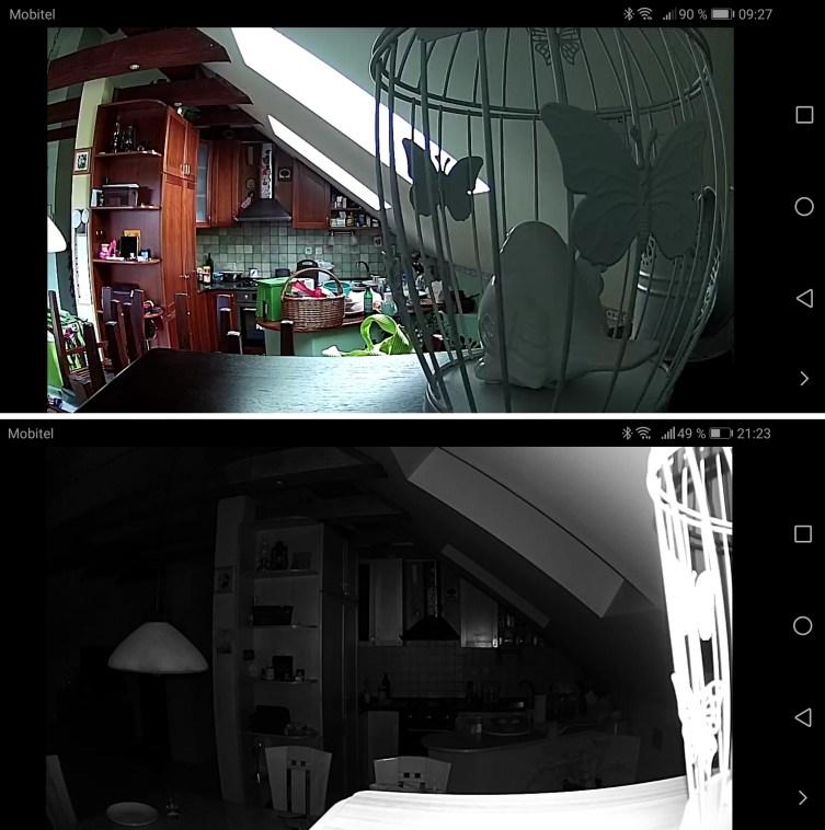 Razlika med »sposobnostjo« kamere podnevi in ponoči.