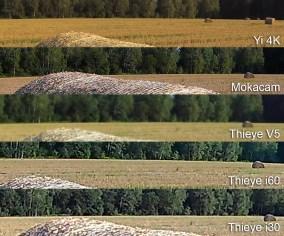 V podrobnostih prednjači Mokacam, ki ima tudi najvišjo ločljivost, sledi Yi 4K, Thieye V5 in na koncu še i60 in i30. Pri obeh zadnjih je lepo vidno, da kameri sliko povečata iz manjšega tipala. V5 pa ima kot kaže težave z ostrino, kajti od 16 milijonskega tipala bi pričakovali več.