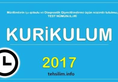 Yeni Kurikulum testləri – 2017 APREL