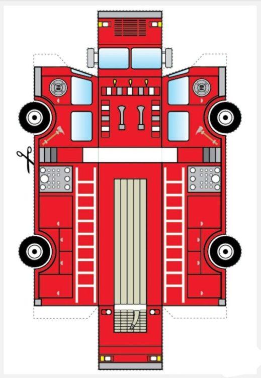 Чертеж пожарной машины из бумаги