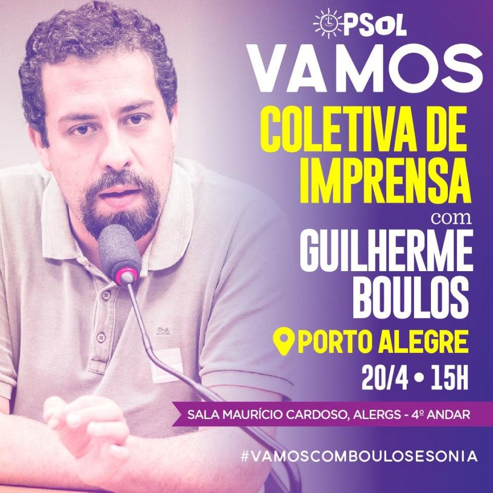 Guilherme Boulos Estará Em Porto Alegre Dias 20 E 21 De