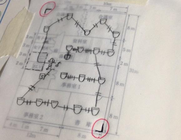 トレーシングペーパーとマスキングテープを使って消防設備士甲種4類の製図問題を解いてみた。