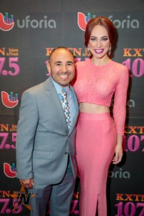 KXTN's Baby J & Univision's La Flaca at 2015 Tejano Music Awards Purple Carpet. (Ryan Bazan / Tejano Nation)