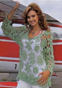 Blusa elegante tejida con motivo crochet