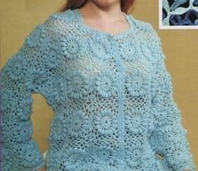 Blusa tejida en crochet con botones