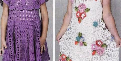 Diseños de vestidos de niña en crochet