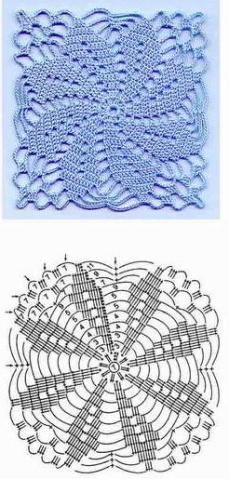 Esquema Blusa en crochet con puntada y motivo3