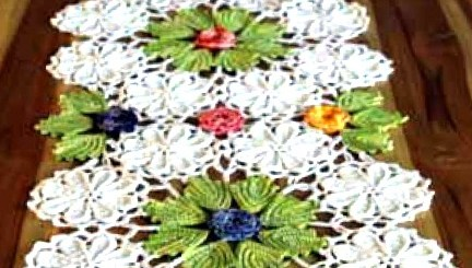 Esquema Camino de mesa crochet motivo flores