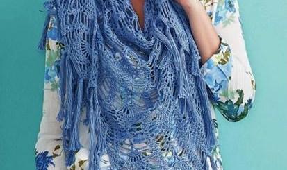 Bufanda tejida con ganchilllo piñas