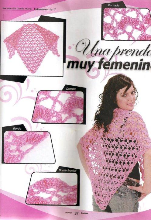 Chal crochet femenino con patrones