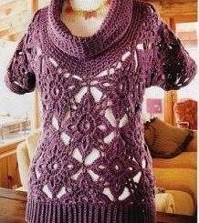 Chaleco crochet manga corta y cuello con esquemas