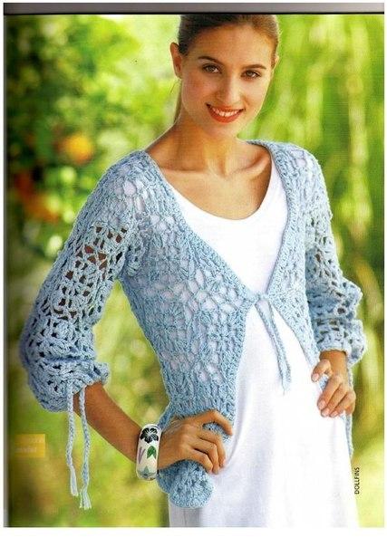Crochet bolero abierto media manga con esquemas