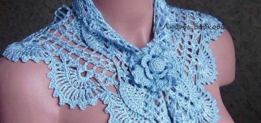 Cuello crochet fino con patrones