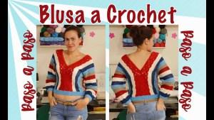 Blusa crochet corta