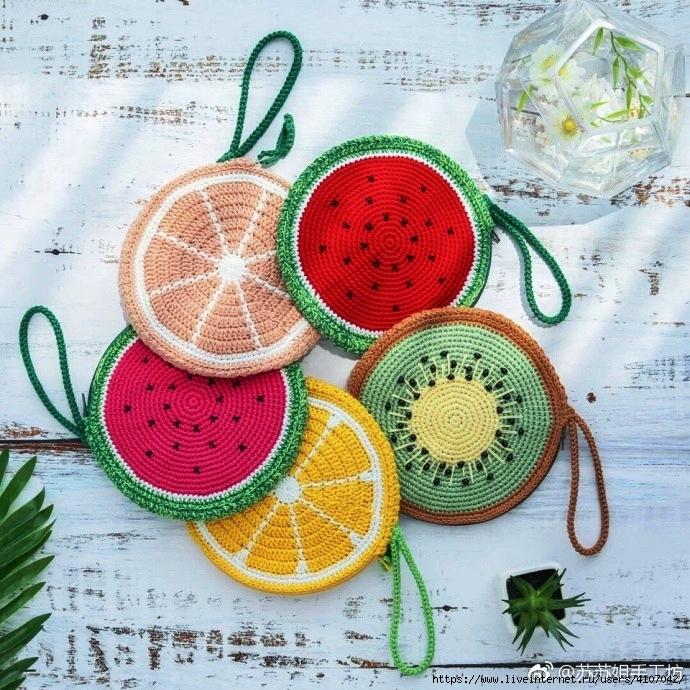 Agarraderas crochet frutas