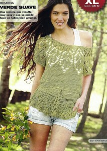 Blusa crochet hombro caído
