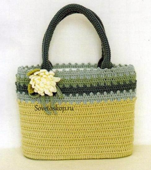 Bolso crochet con puntos altos