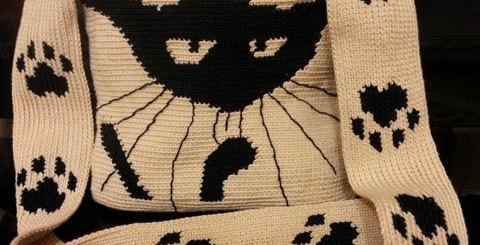Bolso crochet gato