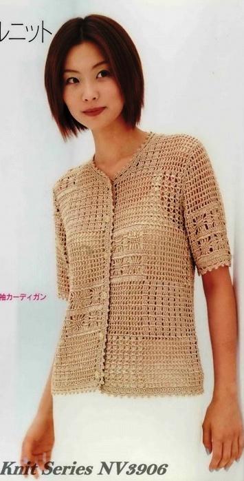Crochet blusa con botones