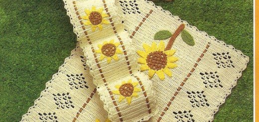 Crochet juego de baños margaritas