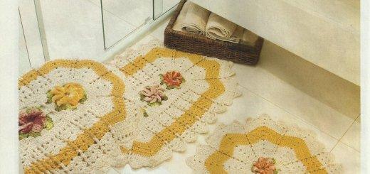 Juego baño crochet tres piezas
