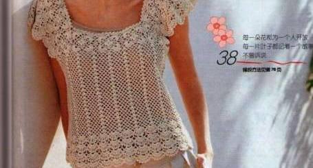 Polera crochet manga corta