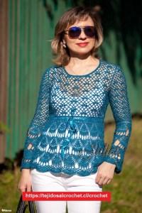 Blusa Azul con bordes