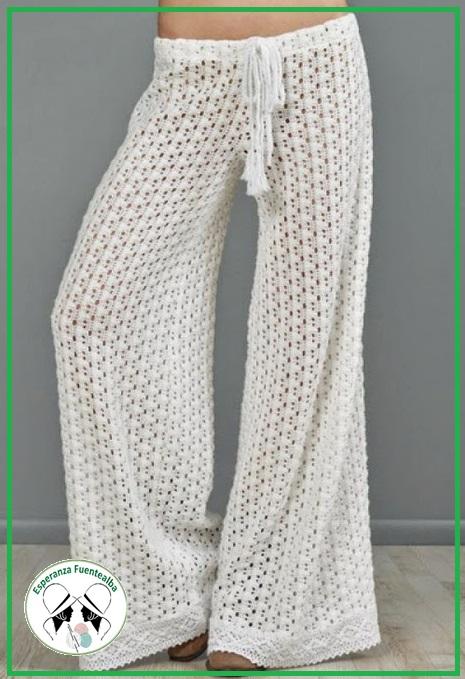 Patrones crochet, hermosos pantalones mujer tejidos al crochet