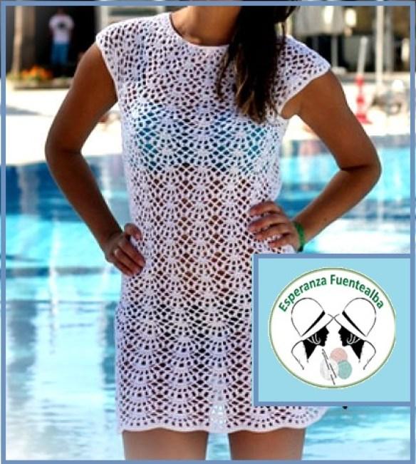 Vestido Playa Crochet Patrón Hermoso Vestido Con Puntada