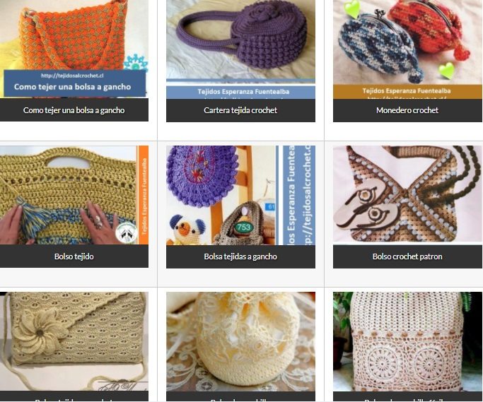 Bolsos Tejidos Crochet. Una selección de distintos modelos y diseños