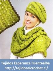 Patrones de gorros. Un increíble conjunto de gorro y bufanda tejidos