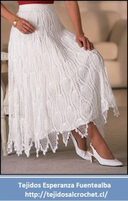 Tejidos a crochet. Linda falda tejida al crochet con un diseño muy elegante