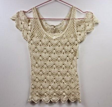 Blusa Crochet hombro descubierto