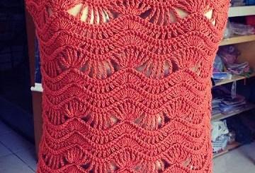 Blusa de ganchillo con estampado de zig zag