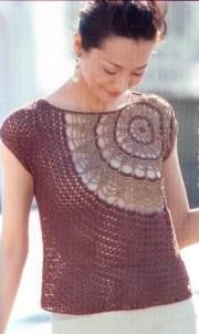 Blusas tejidas a crochet bonita. Linda y elegante blusa tejida con ganchillo