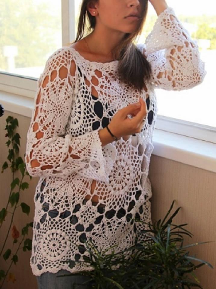 Camisa de ganchillo de manga larga