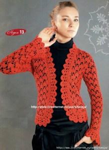 Gráfico chaleco crochet manga larga