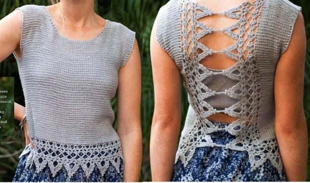 Modelo blusa crochet adorno espalda