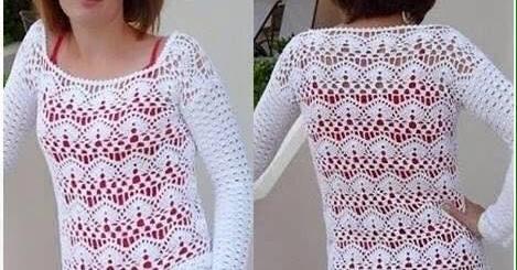 Patrón Blusa crochet manga larga