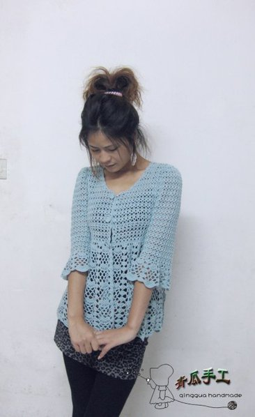 Patrón blusa crochet media manga